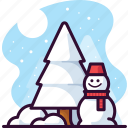 seasonal, snow, tree, forest, snowman, christmas, winter