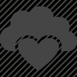 cloud, heart, love, valentine icon