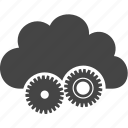 cloud, gear, mechanics, tool icon