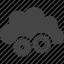 cloud, gear, mechanics, tool icon