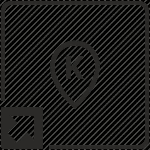 k, letter, map, point, shortcut icon