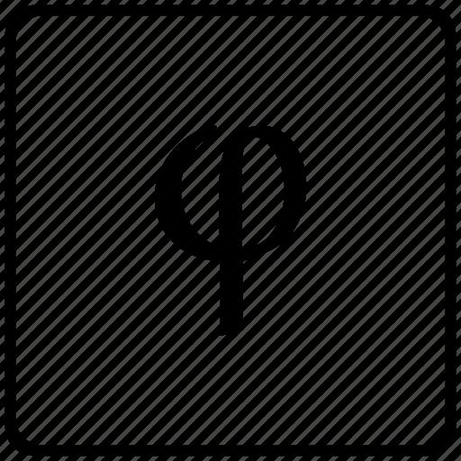 alphabet, greek, letter, phi icon