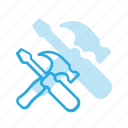 hammer, screwdriver, set, settings, setup, tools icon
