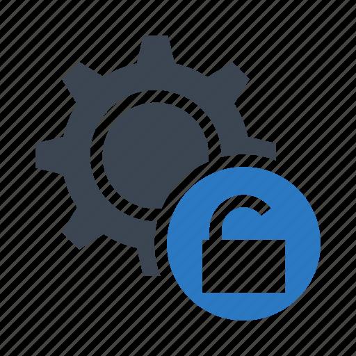configuration, gear, option, setting, unlock icon