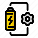 battery, energy, gear, preferences, settings, support