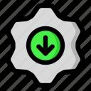 arrow, download, options, settings