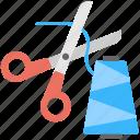 cutting, scissor, sewing, stitching, thread icon