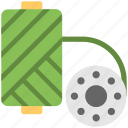 bobbin, machine thread, machine tool, tailoring, thread icon