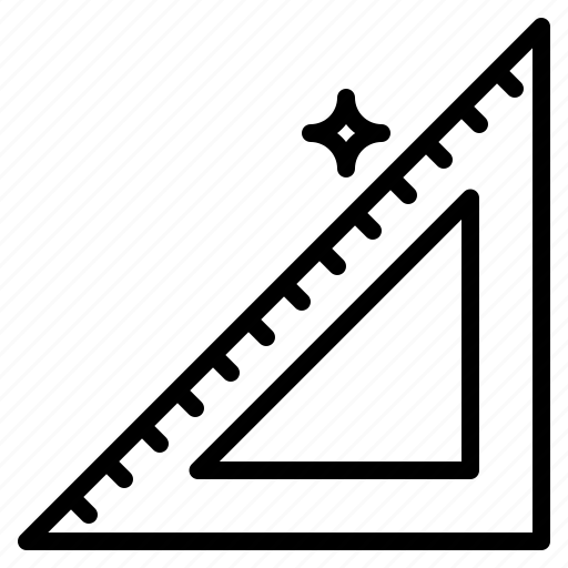 ruler, set, square, tool, triangular icon