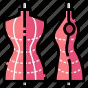 designer, dressmaker, dummy, fashion, handcraft, mannequin, tailor icon