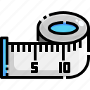 education, fashion, fitness, measuring, ruler, tape, tool icon