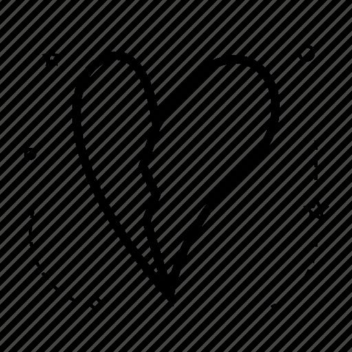 application, broken heart, design, dislike, line, shape, wrecked icon