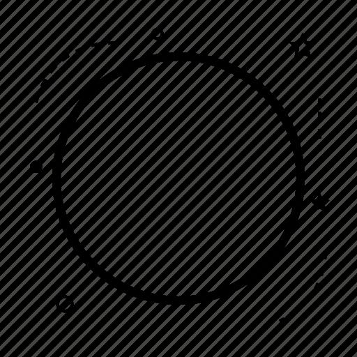 application, arrow, circle, device, line, mobile, shape icon
