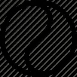 chinese, circle, half, natural, shape icon