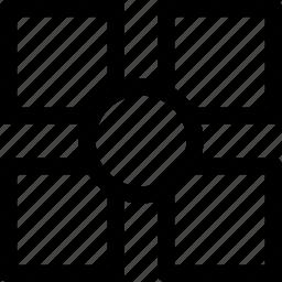 center, circle, pattern, squares icon