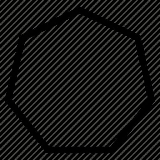 heptagon, heptagon icon, heptagon shape, heptagon sign icon