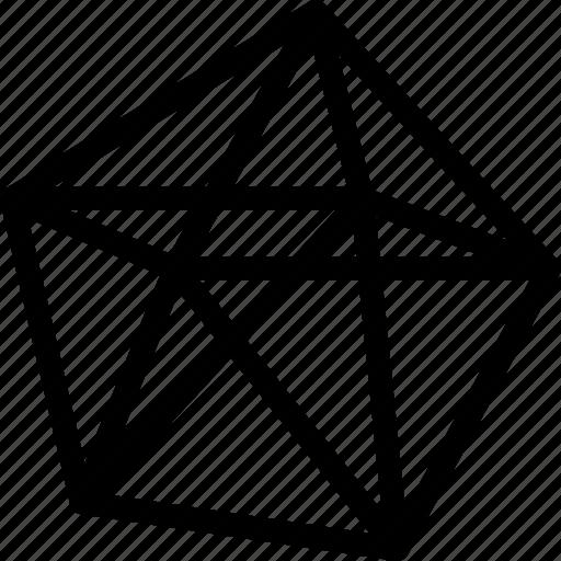 dekaeder, grid, line, shape icon