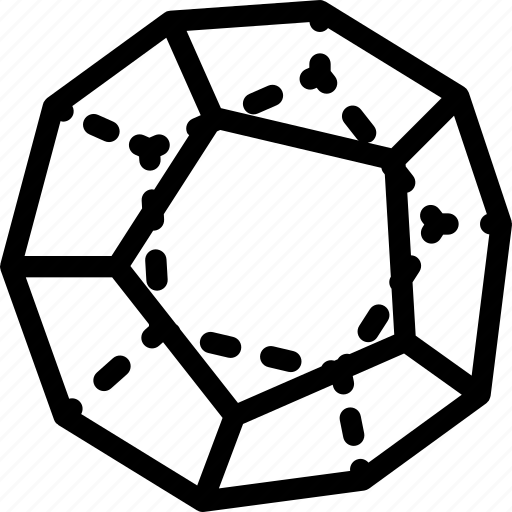 dodekaeder, grid, line, shape icon
