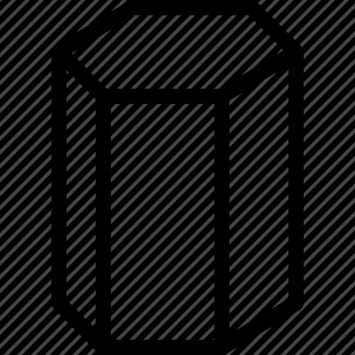 cylinder, grid, hexagonal, shape icon