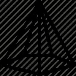 cone, line, pentagonal, shape icon