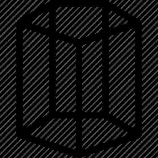 cylinder, geometry, line, pentagonal, shape icon