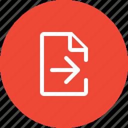 arrow, document, export, export document, export file, file, guardar, save icon