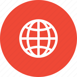circle, earth, global, global business, globe, red, world icon