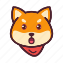 amazed, dog, emoticon, inu, shiba icon