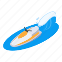 isometric, jetski, object, sign icon