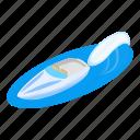 isometric, object, sign, speedboat icon