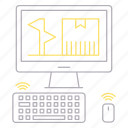 computer, delivery, device, management, shipping, transportation icon