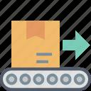 shipping, arrow, box, conveyor, delivery, forward, parcel