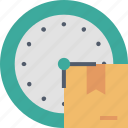 box, clock, date, delivery, parcel, shipping, time icon