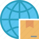 box, delivery, globe, package, shipping, transportation, world icon