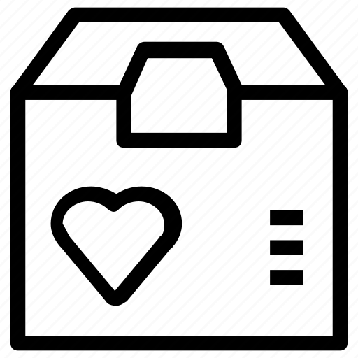 box, favorite, heart, package icon