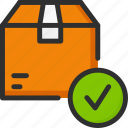 approve, box, check, delivery, mark, package, shipping icon