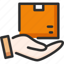 box, care, delivery, hand, hold, package, shipping icon