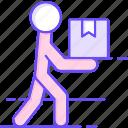 box, delivery, home, man icon