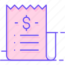 bill, recipe, voucher icon