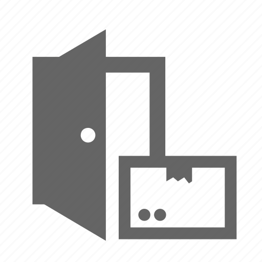 container, delivering, door, home, package, service, shipping icon
