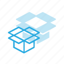 box, delivery, open, shipping icon