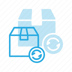 box, delivery, refresh, reload, resend, shipping icon