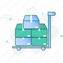 box, cargo, cart, logistic, package, parcel, trolley icon