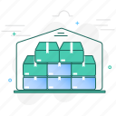 boxes, building, full, storage, storehouse, warehouse icon
