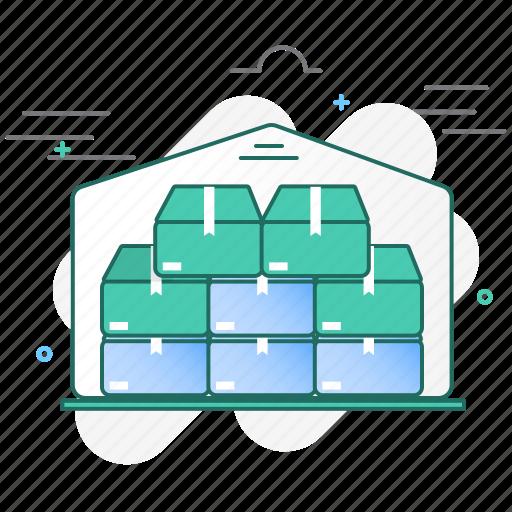 boxes, building, full, storage, storehouse, warehouse icon