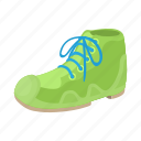 boot, cartoon, green, male, shoe, sport, white icon
