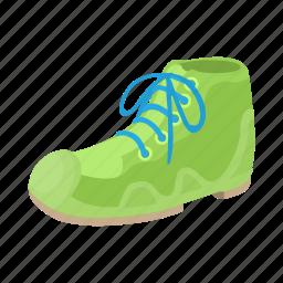 boot, cartoon, green, male, shoe, sport, white icon