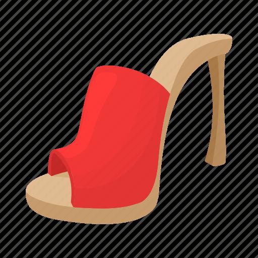 cartoon, fashion, female, heel, high, shoe, woman icon