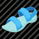 active, isometric, logo, object, paltform, sandal, woman
