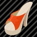 heeled, isometric, logo, object, sandal, sole, tall